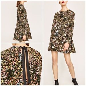 EUC Zara Floral Blooms Vines Long Sleeves Romper M